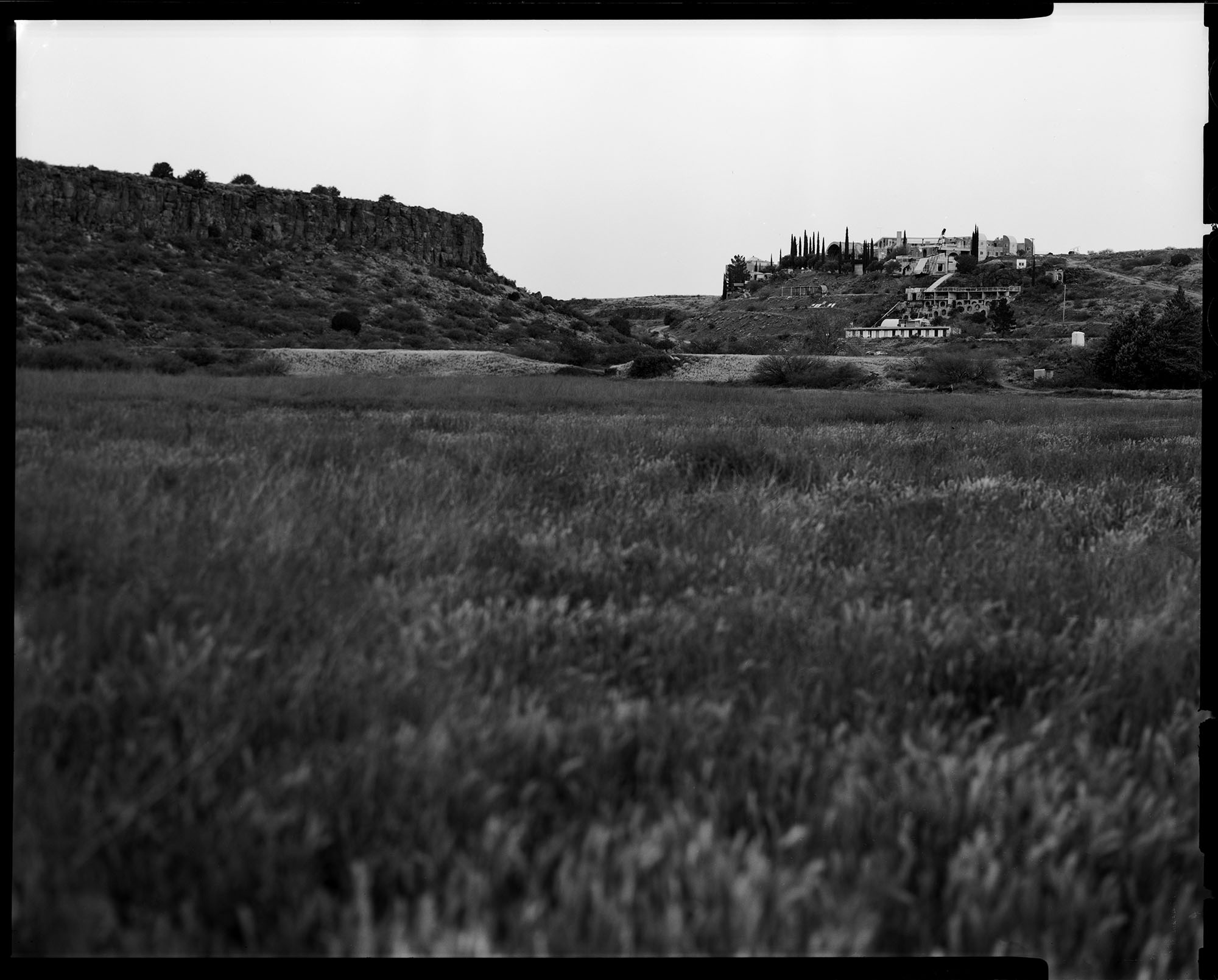 Arcosanti, seen from the valley down below. This photograph was made on film with a large format Sinar F1 4x5 camera.