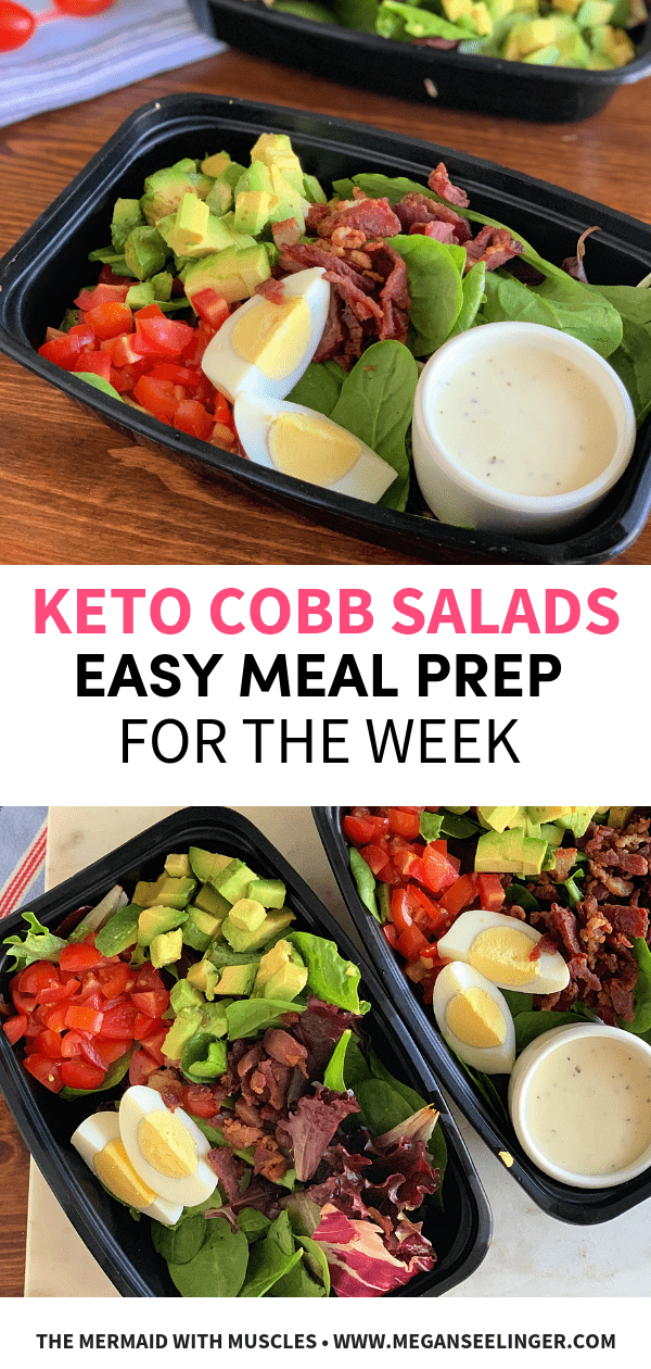 Easy Keto Cobb Salad Meal Prep Lunch Recipe