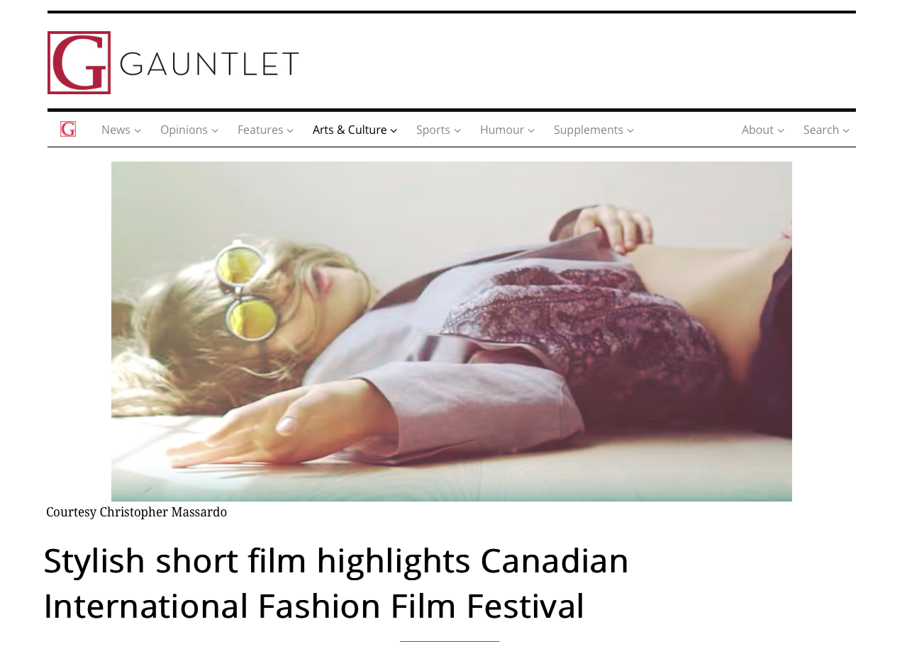The Gauntlet - The Gauntlet reviews Christopher Massardo's award nominated short fashion film.