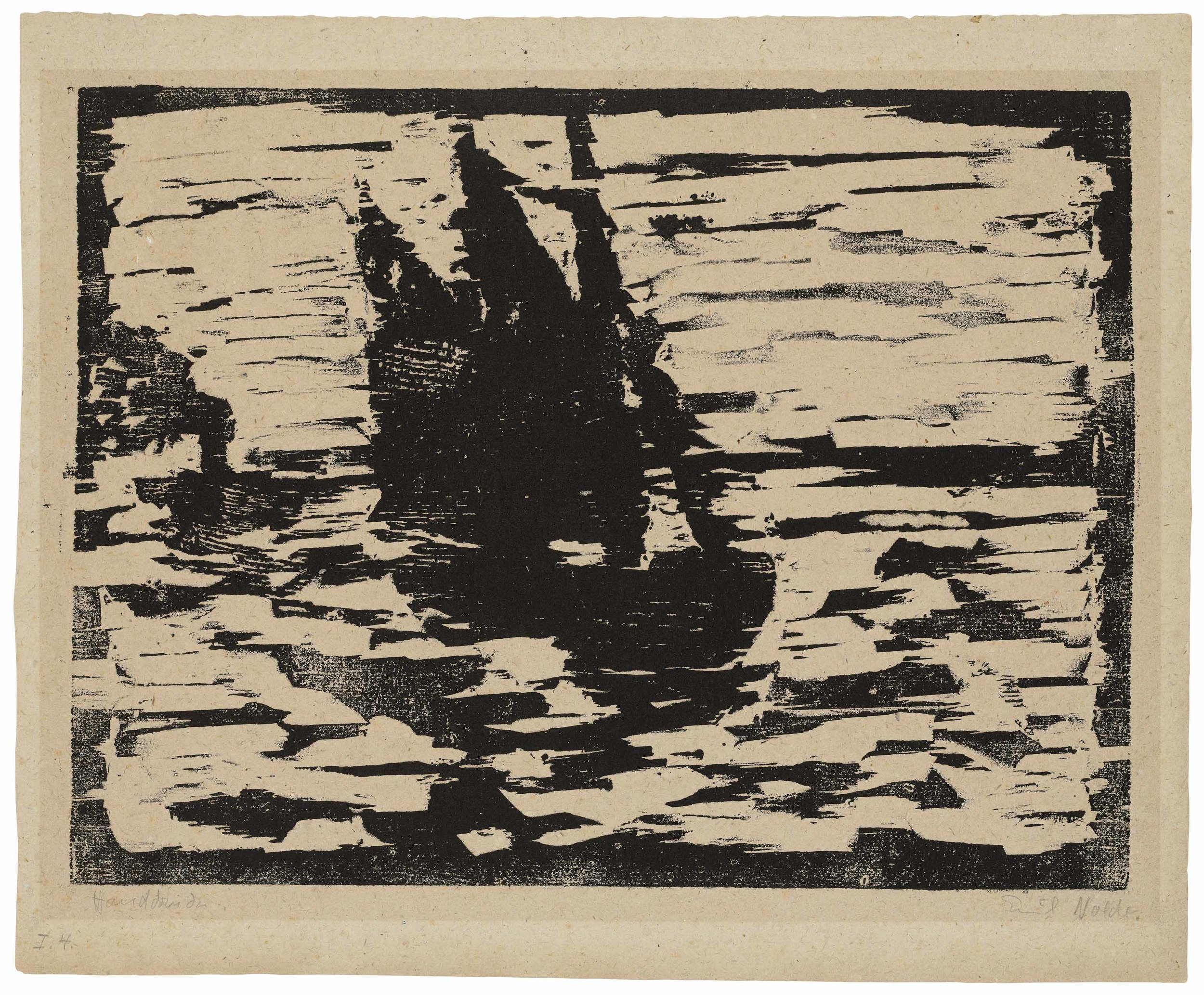 Emil Nolde,  Segelboot , Woodcut. 1910.