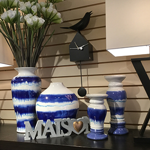 HOME FURNISHINGS   Contemporary and Traditional From small tables to larger recycled furniture from Vietnam. Clocks, porcelain pottery, bar accessories, specialty kitchen items, and MORE!  We have new items arriving daily.   Visit our Home & Gifts page.