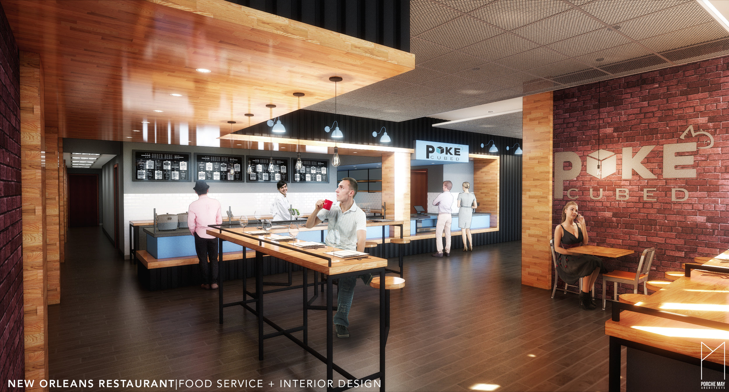 """Located on St. Charles Ave in New Orleans, LA, this new """"Poke""""-style restaurant creates a contemporary vibe in a historical building. Porche