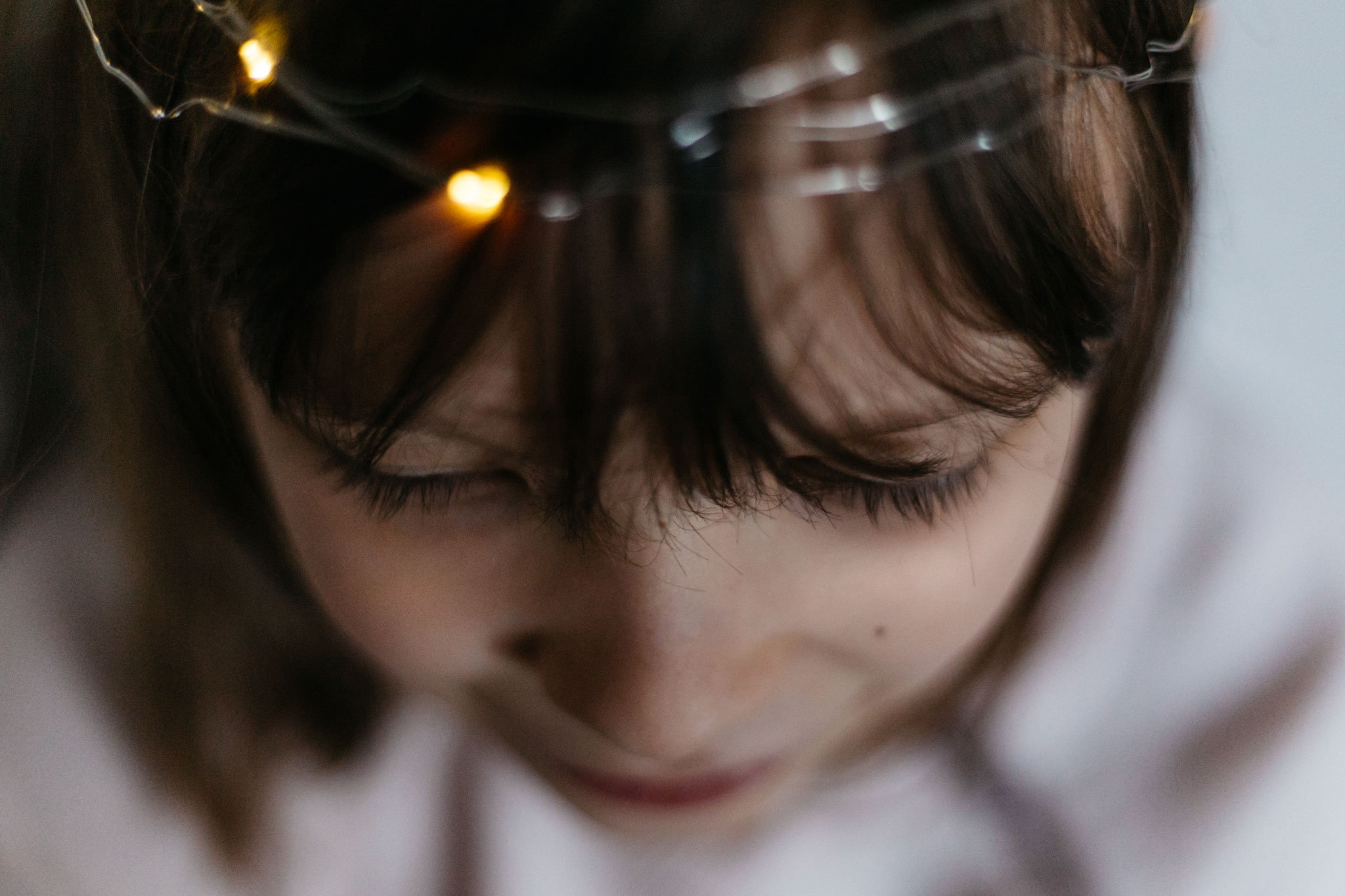 girl wearing fairy lights