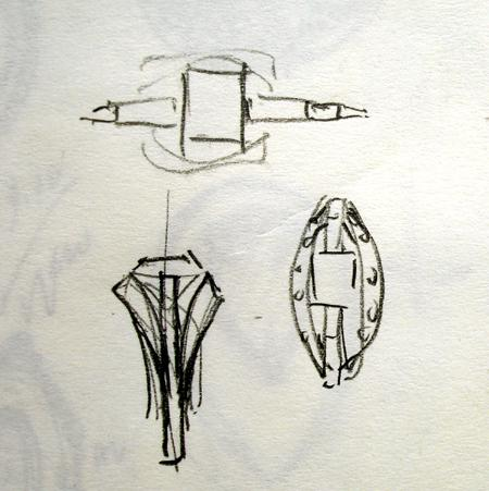 The design concept sketch, usually about as far as Igo with a 2D drawing before sketching in 3D.