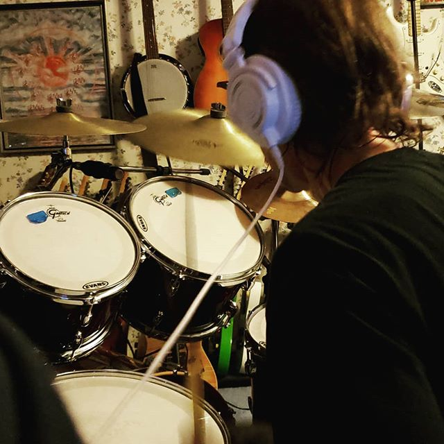 Recording drums again for The Grey Area. New drum set..🥁🥁 #edhermann #theedhermannproject #musiciandaily #newalbum #newmusic