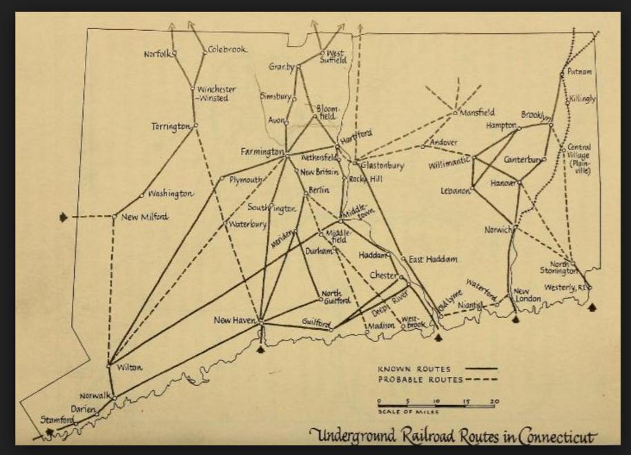 CT Underground Railroad map