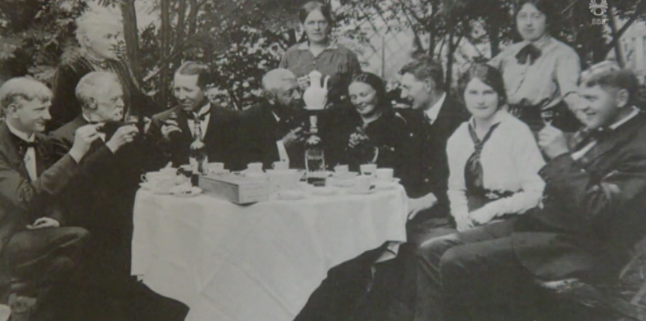 a garden party at the old pharmacy in the late 19th century
