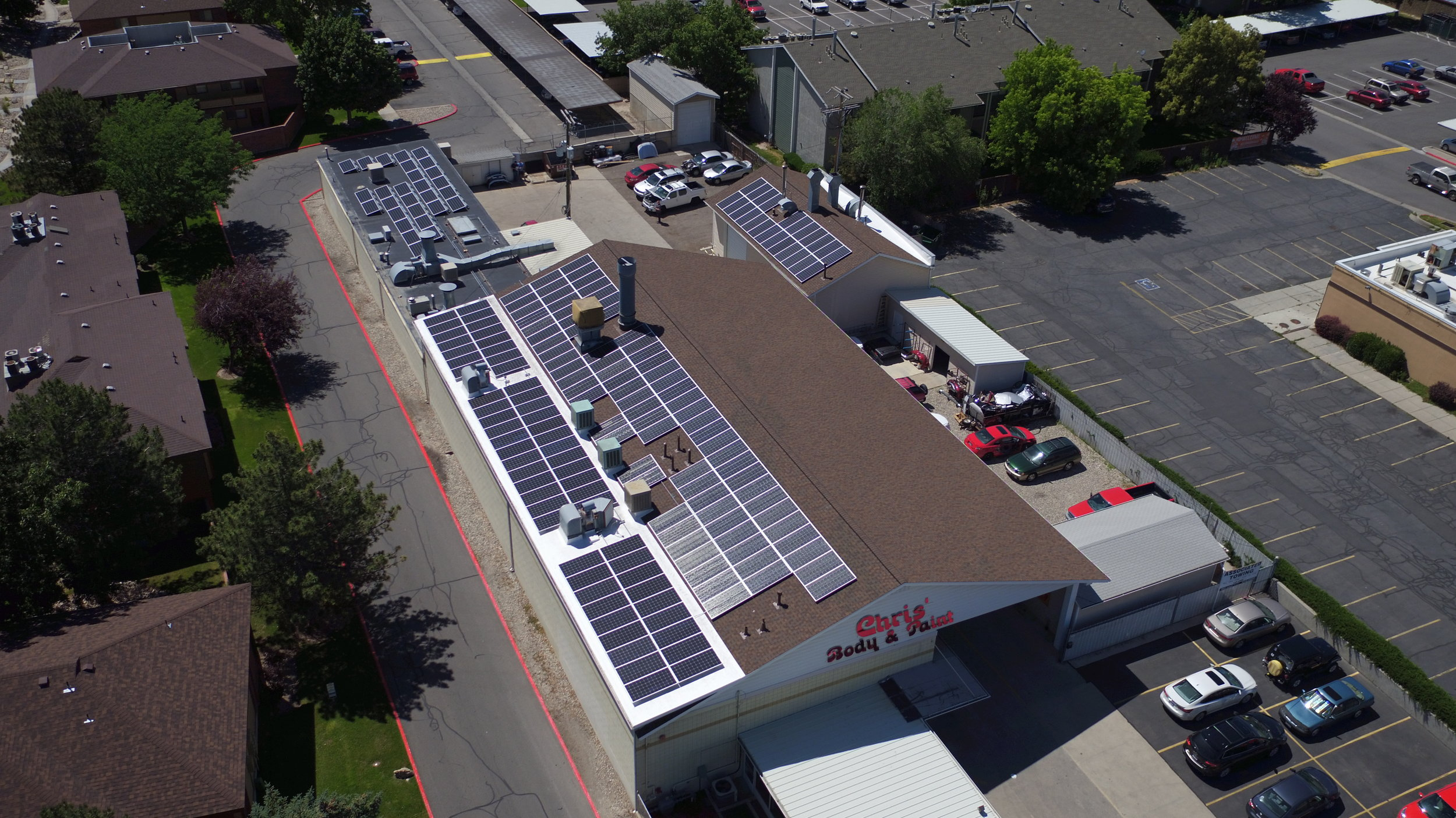 Chris's Body & Paint   188 panels installed 62kW generated per month  $653.07 saved per month