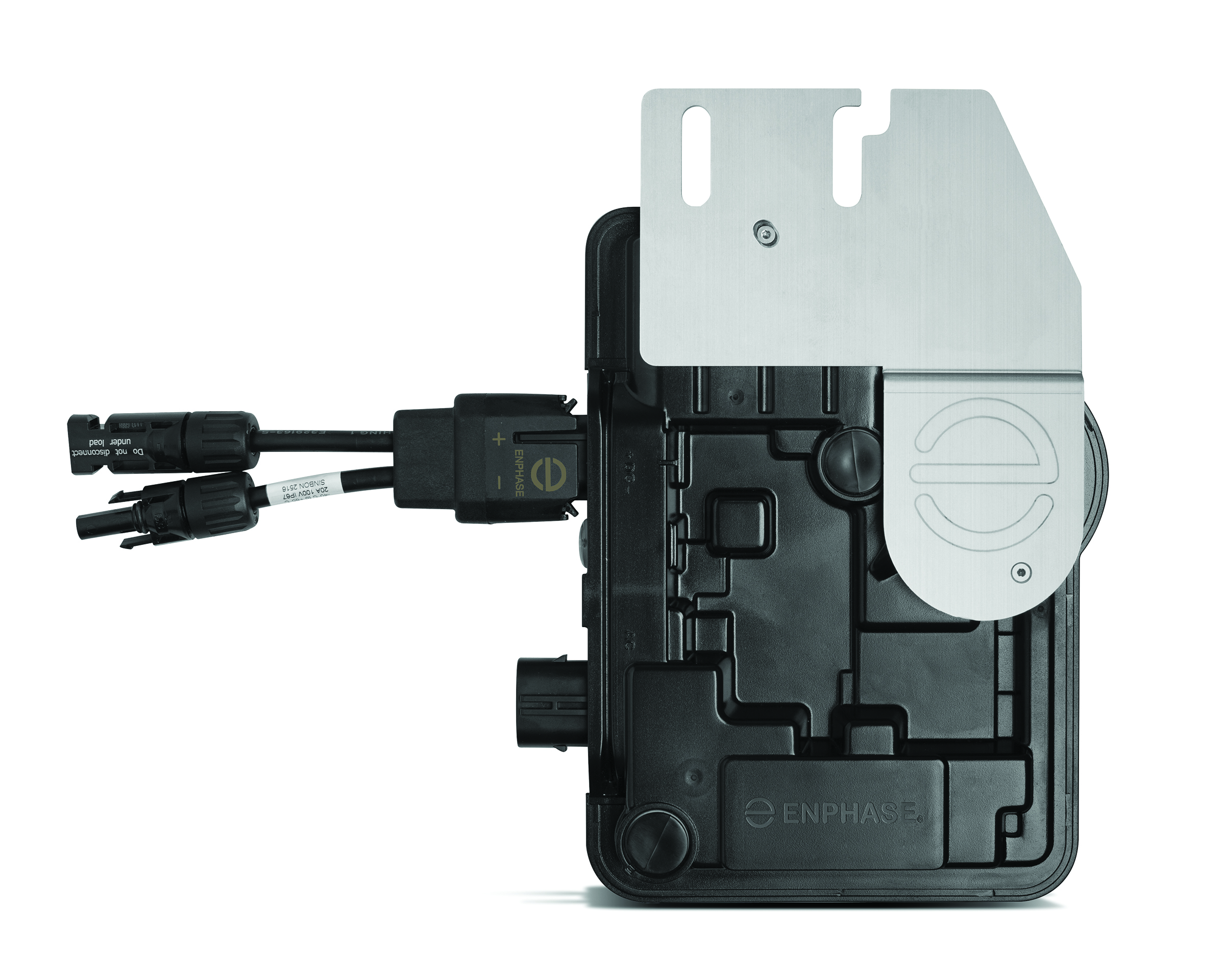Microinverters are located underneath each solar panel.