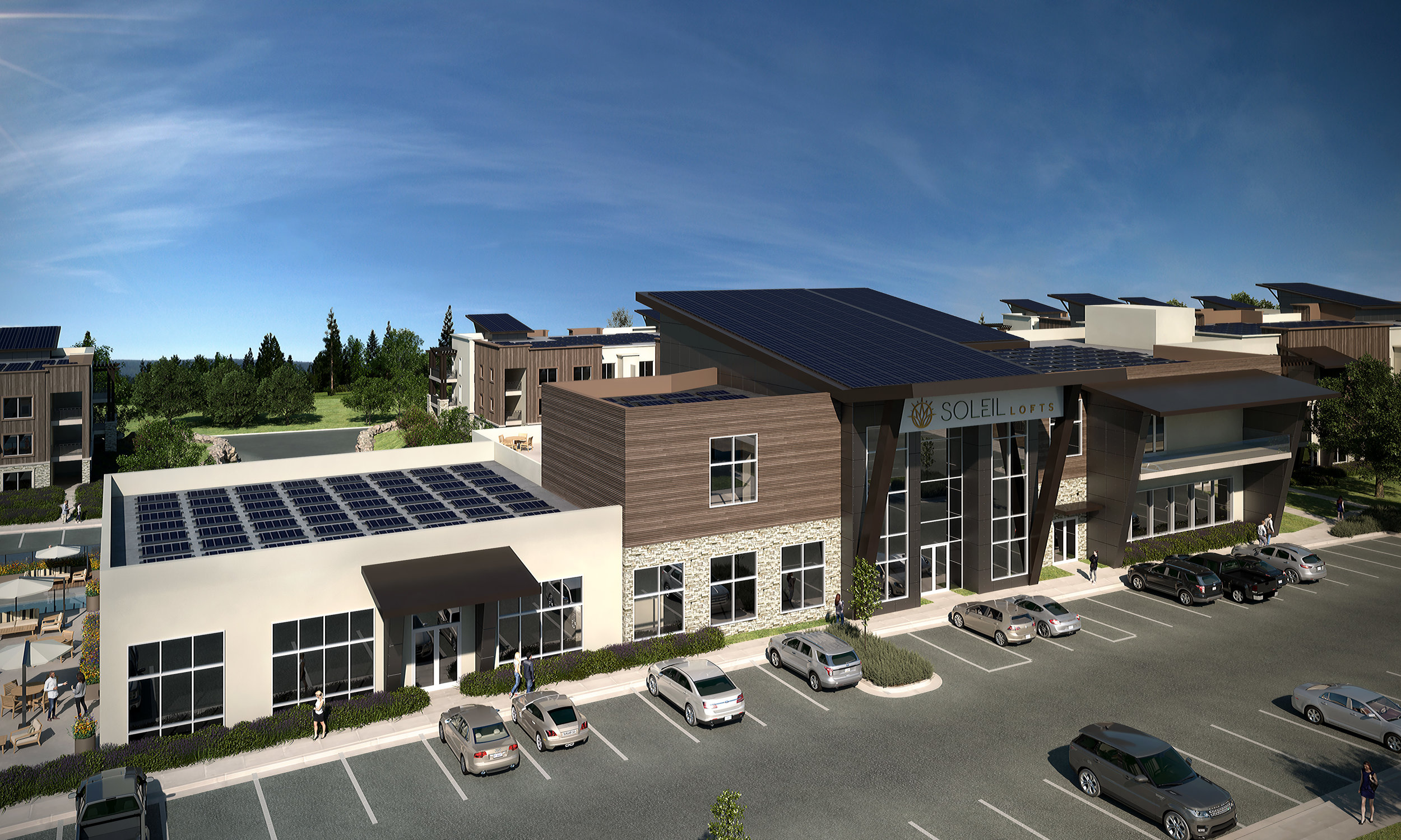 Soleil Lofts clubhouse 1MW battery and solar