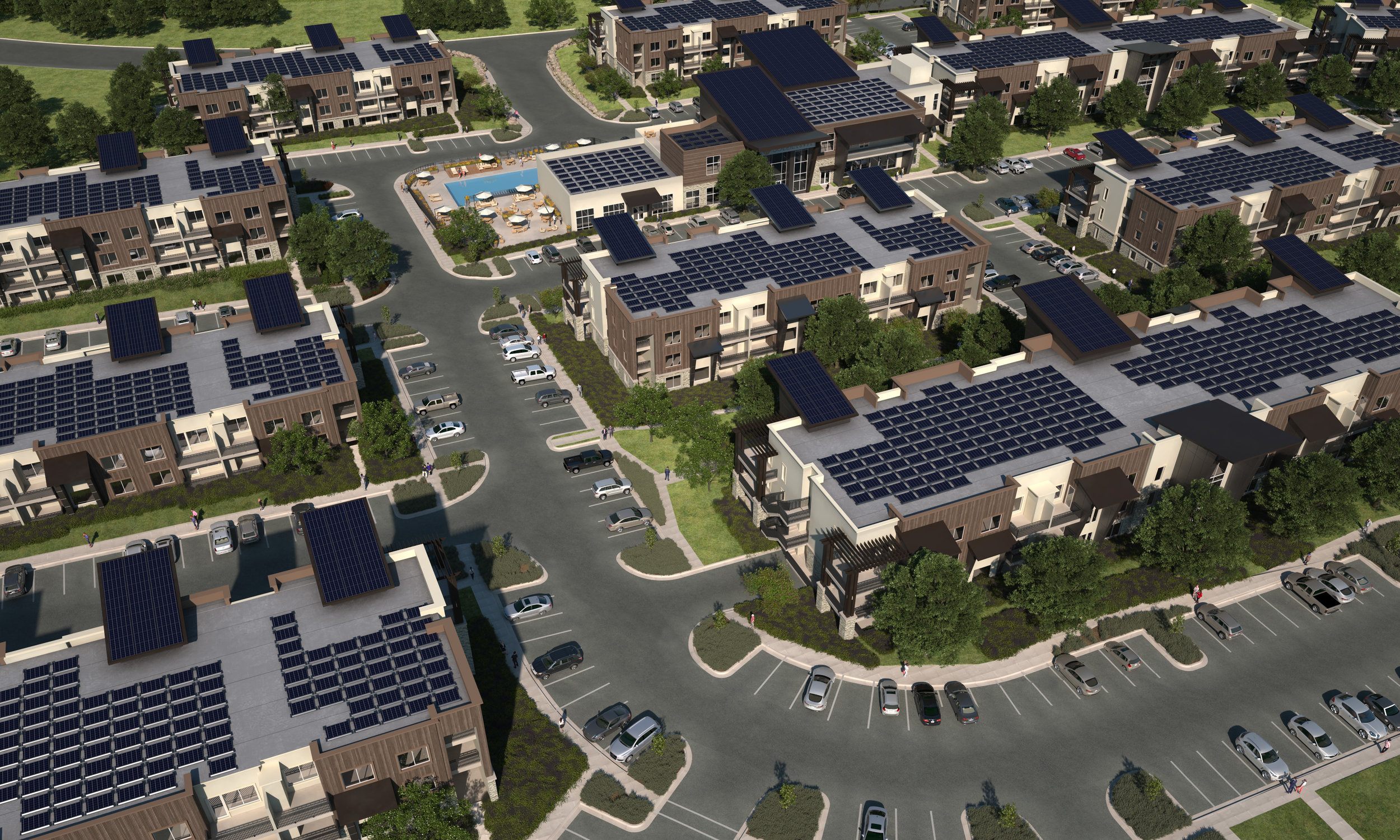 Soleil Lofts aerial view 5MW solar 13MW batteries