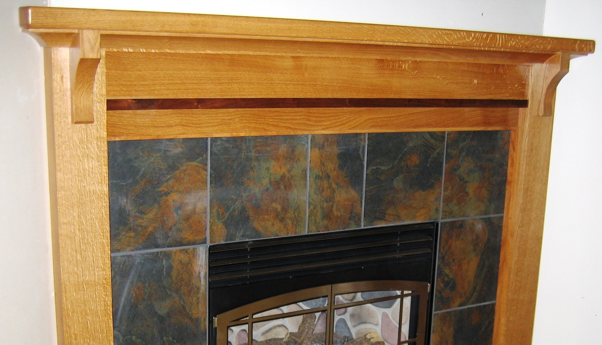 White Oak and Walnut Mantle
