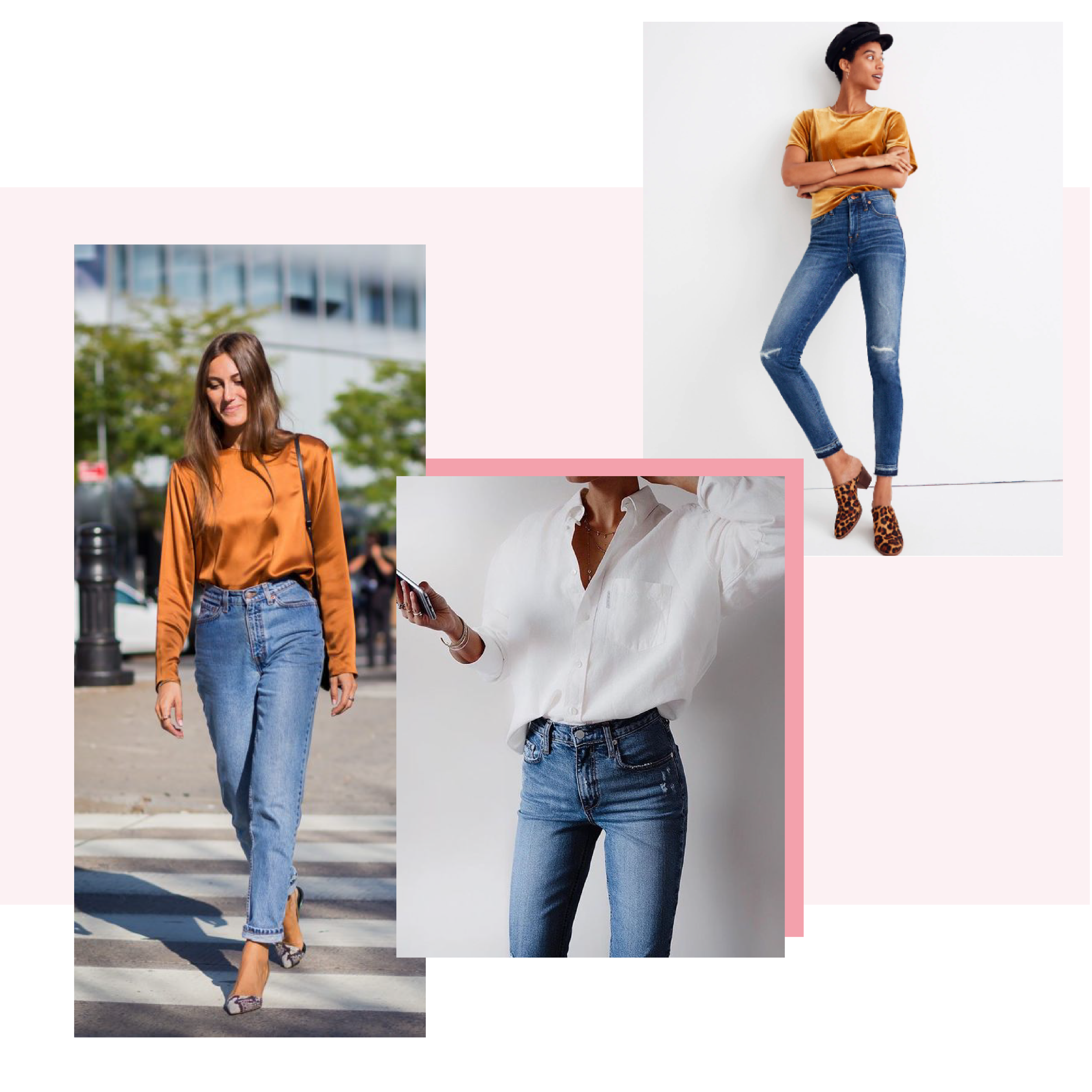 Dress up Your Jeans - Another safe bet? Rock your favourite pair of jeans with a top that makes you feel comfortable and confident. Need some ideas? A crisp button-down will never lead you astray, balance a lady-like blouse with boyish brogues, or throw on a statement sweatshirt for something extra cozy, but cool.