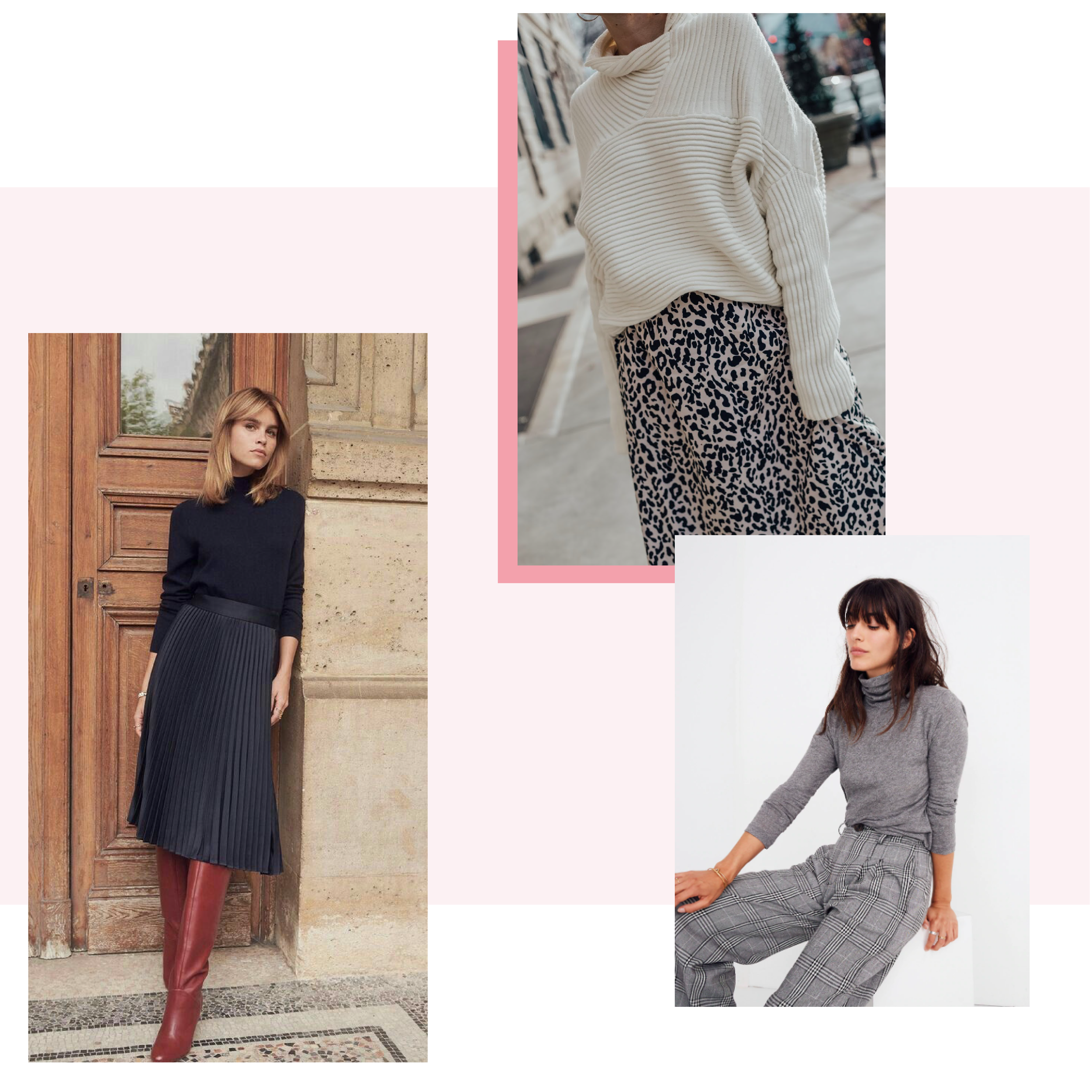 Turtlenecks are Cool (we said it) - There's something about a turtleneck that just oozes sophistication, plus the neck-warming layer works well for Alberta temperatures. Tuck a fitted turtleneck into a midi skirt with tall boots, or embrace a printed, or wide-leg pair of trousers for a polished look.