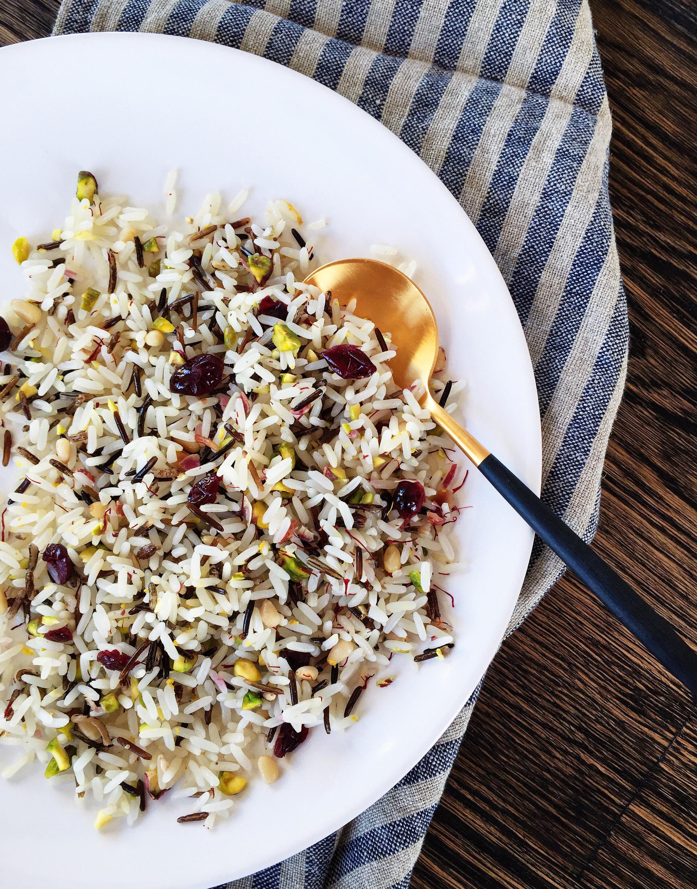 Long grain & wild rice + unsalted pistachios, toasted pine nuts, dried cranberries, lemon zest, saffron.