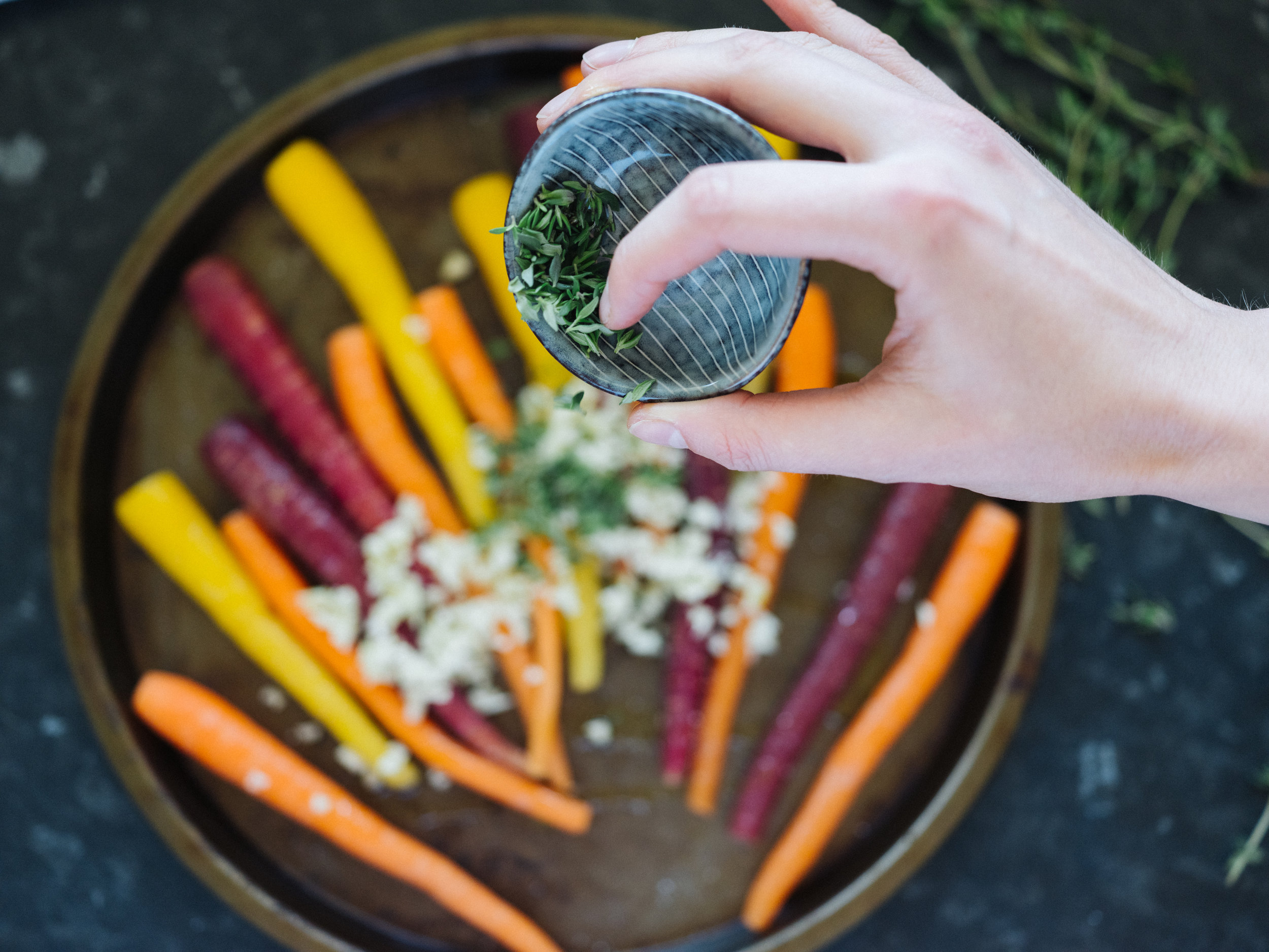 Sprinkle with thyme & salt.