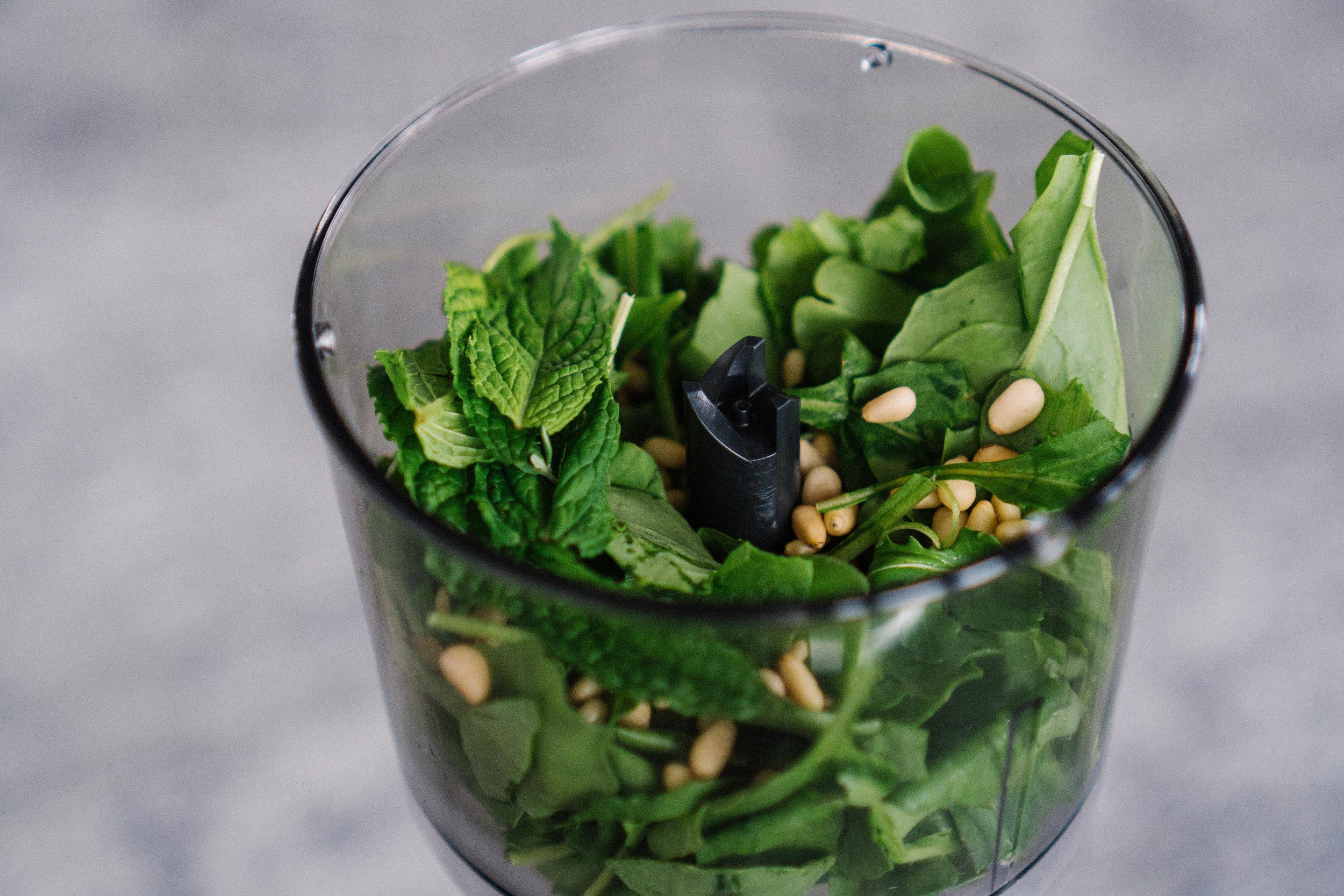 Place rocket, mint, toasted pine nuts, salt, lemon juice into a food processor or blender.