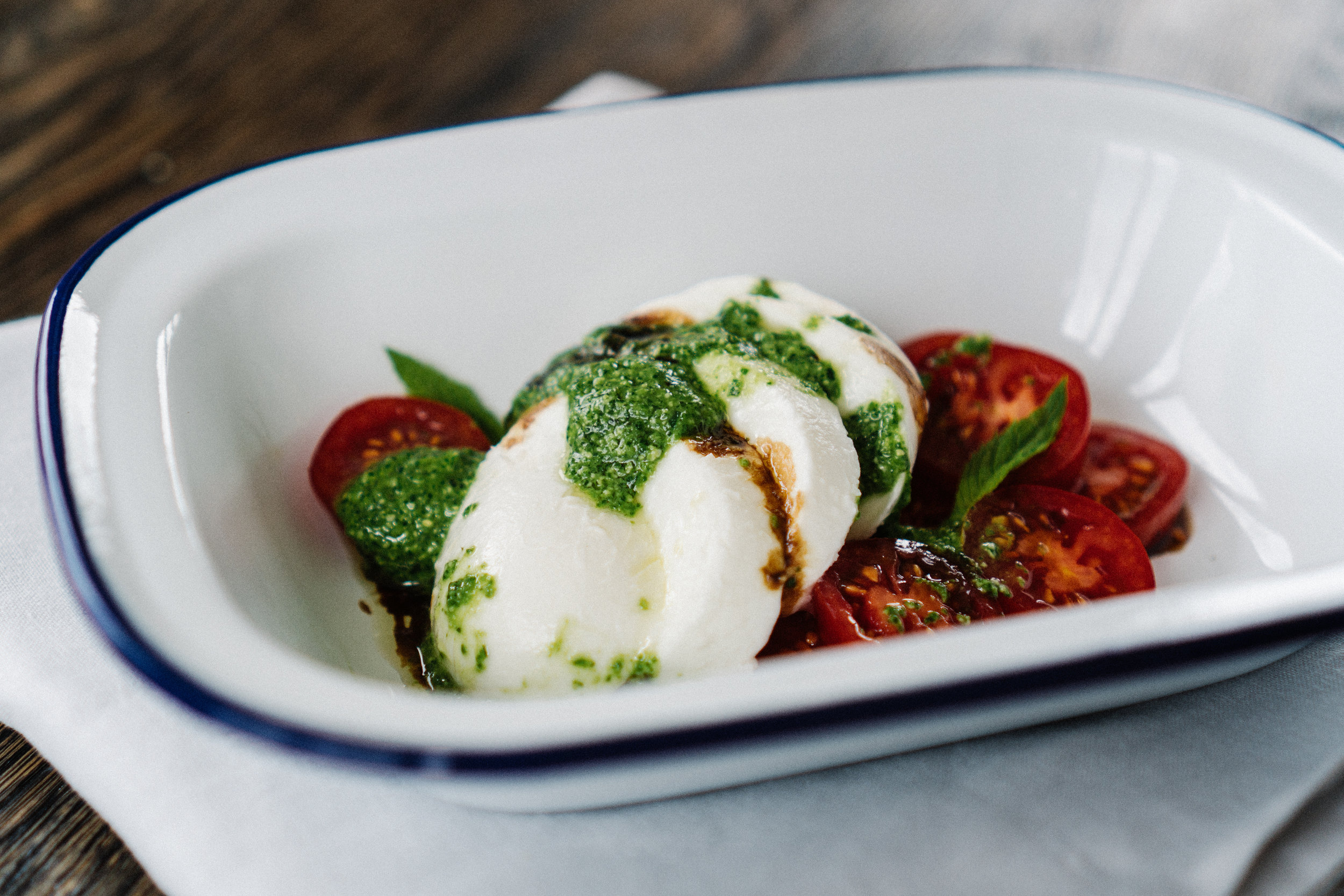 Just trying to inspire here: fresh mozzarella, tomatoes, a drizzle of balsamic and homemade rocket pesto.