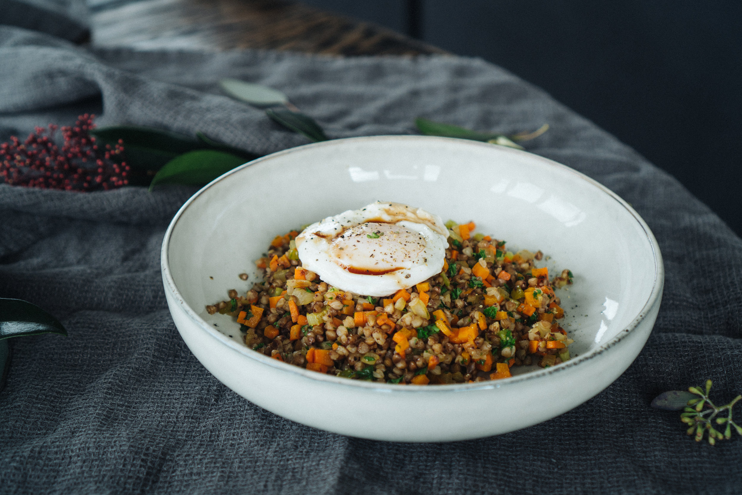 BUCKWHEAT + CARROT + CELERY + ONION + POACHED EGG -