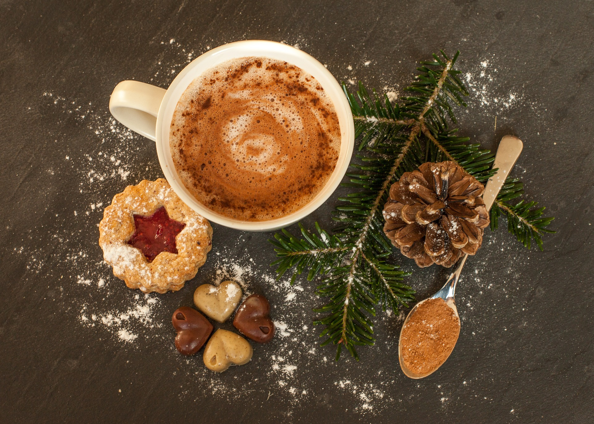 When I drink hot cocoa, this is what it's going to look like. Pine cone, powdered sugar and all.