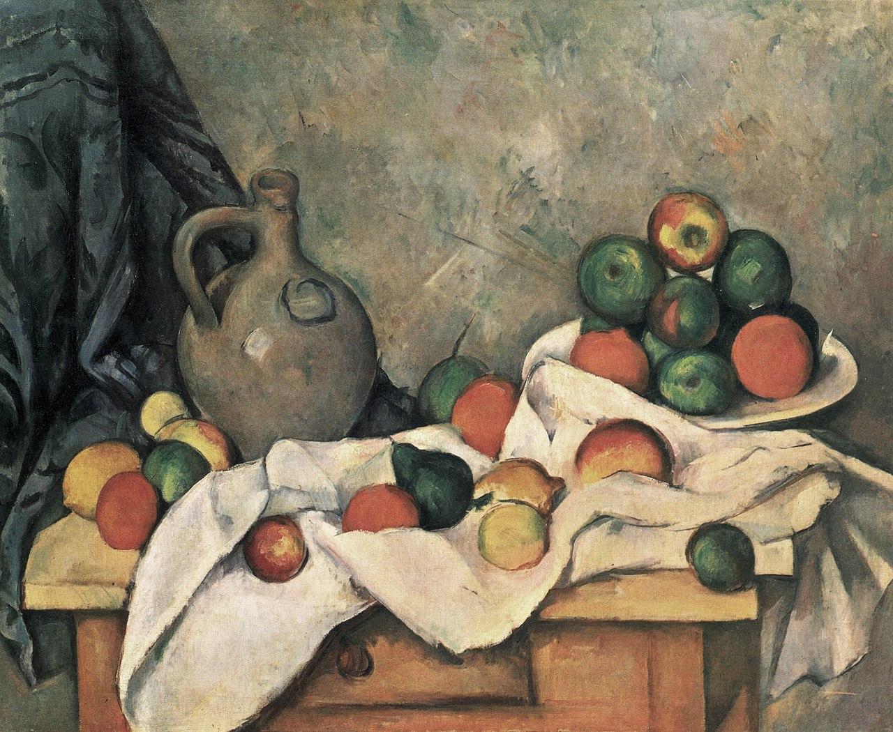 Stilleben, Draperie, Krug und Obstschale 1893-1894, Paul Cézanne