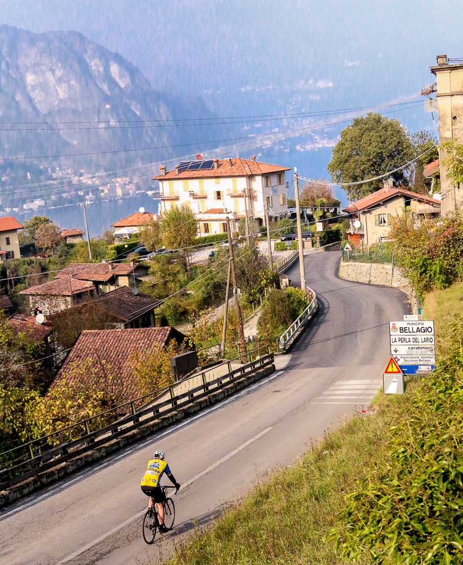 The view of the hotel and iconic Ghisallo climb that has been photographed with cyclists for nearly a century.