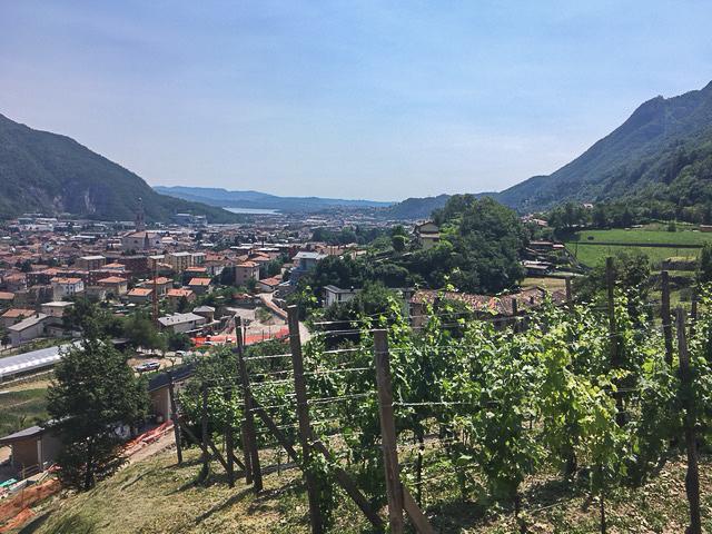 The Casina Don Guanella farm overlooking Lecco.