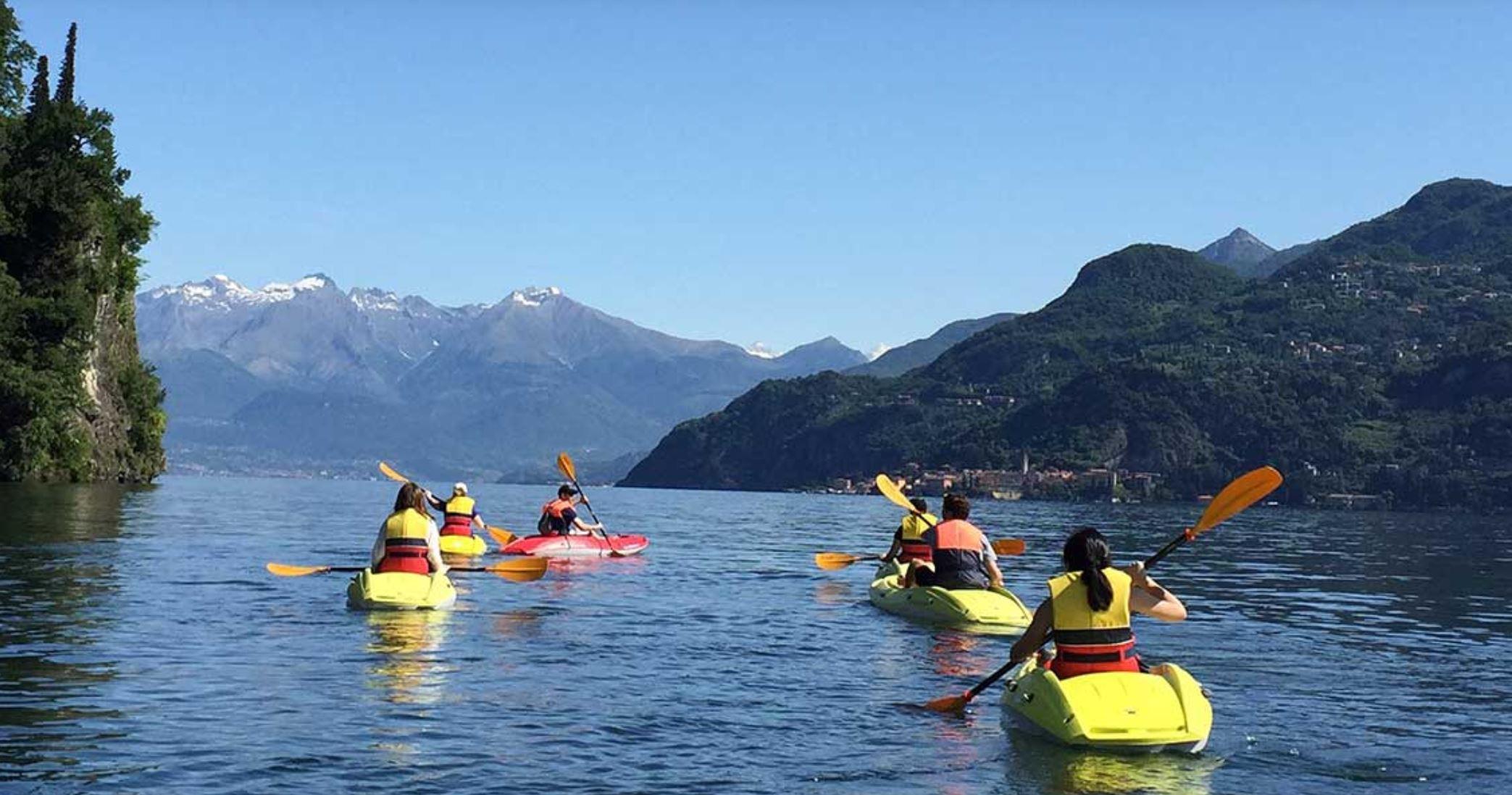 Relaxing kayak tour along the Bellagio waterfront. Photo: Bellagio Water Sports