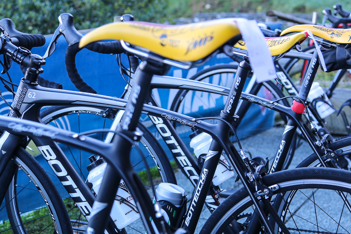The fleet of carbon fiber Bottecchia bikes waiting to go out on a ride with their guests.