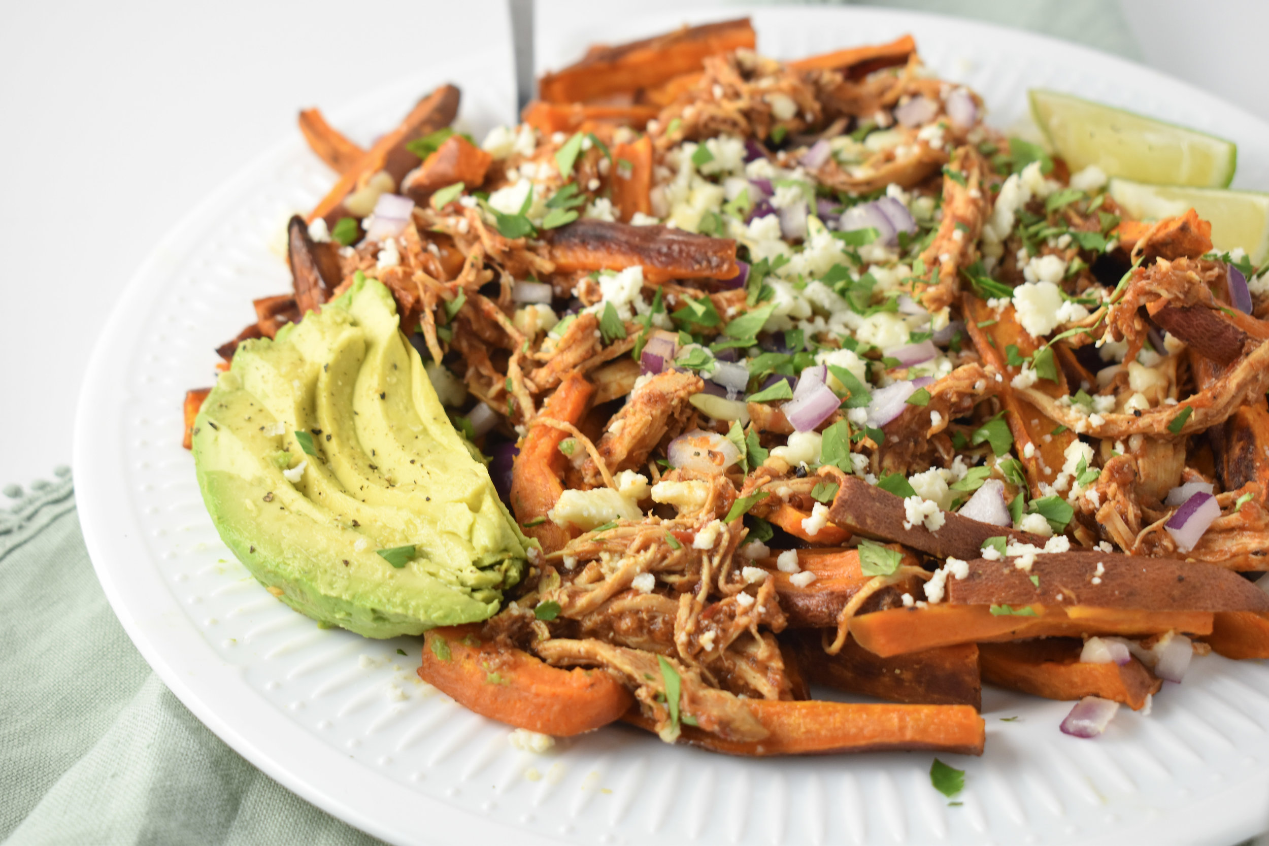 Loaded Chicken Tinga Sweet Potato Fries // JordanMitchellRD.com