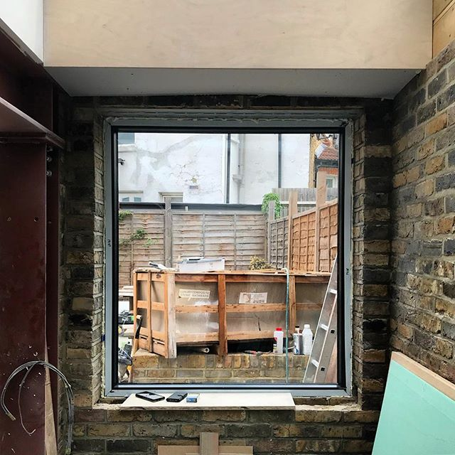 Picture frame, progress shot of course, although maybe the bath is in the right spot in the garden. #architect #architecture #riba #igers #eastdulwich #picturewindow
