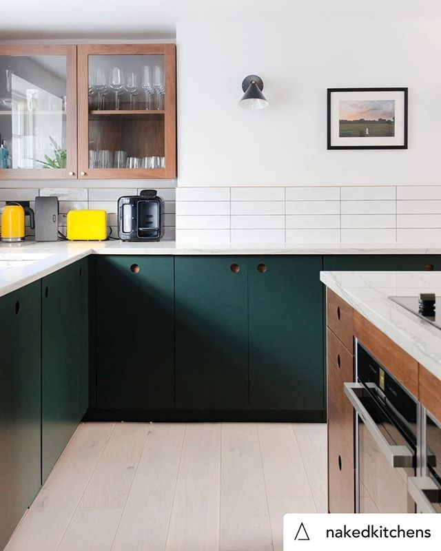 Posted @withrepost • @nakedkitchens It's all about the details when designing a super sleek kitchen! This design effortlessly incorporates exposed walnut throughout the room right through to the backing on these forest green Ladbroke doors. Photography by @megantaylorphoto. Credit to @district_architects . . #NakedKitchens #BespokeKitchen #ScandiKitchen #KitchenDesign #KitchenDecor #InteriorDesign #PureScandi