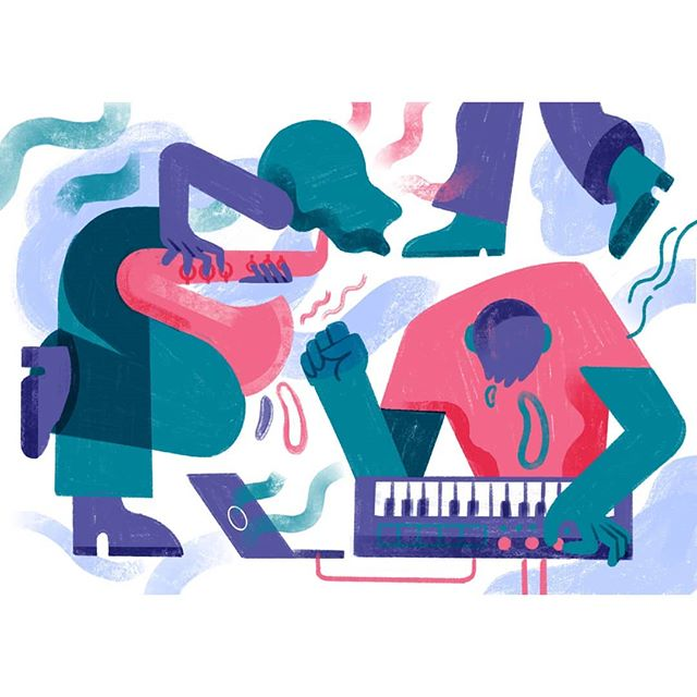 crop of something bigger i'm in the middle of...🎷🎧🎶 . . . .  #illustration #wip #digitalart #procreate #music #musician #jamming #saxophone #dj #synth #art #print #illustrationnow #illustrated #womenwhodraw
