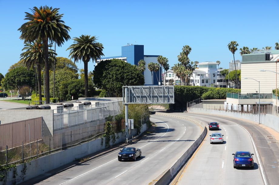 The 10 Freeway between Santa Monica's downtown and civic center areas could be linked by a freeway cap park one day.  Photo Credit: Shutterstock.com