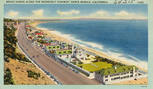 A postcard circa 1930 and circa 1945 of beach homes along the Roosevelt Highway in Santa Monica, California