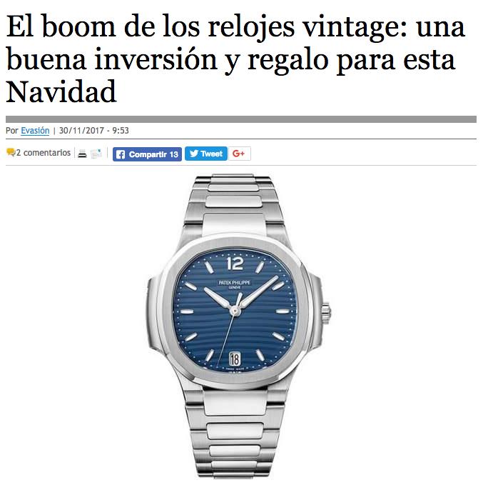El Boom de los Relojes Vintage. - Artículo en ElEconomista.es hablando sobre los relojes vintage y como se están convirtiendo en una buena opción de inversión y regalo para estas Navidades.ElEconomista.es, Noviembre 2017.