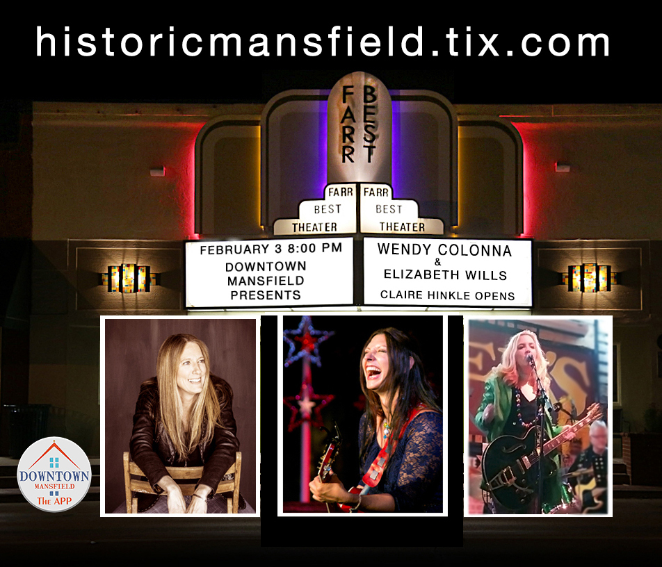 """DMi is proud to  produce  Wendy Colonna &Elizabeth Wills, with Claire Hinkle  on 8:00 pm February 3, 2018.  Get your tickets now at  HistoricMansfield.Tix.com .    Mansfield audiences love  Wendy  Colonna, as do music-lovers across the state. The Austin-American Statesman wrote """"Wendy Colonna is not just a singer-songwriter, she's a force of nature."""" Hailing from the gulf coast of Louisiana and calling Austin, TX home since 2000, Colonna is a regular southern renaissance woman: a seasoned troubadour, yogi, bookworm, adventurer, pollination ecology-enthusiast and hula-hooper. But it's her songwriting and voice that draw audiences in like bees to nectar.  Wendy's resonant, signature voice is grit-infused-honey and her songs echo swampy southern tales of loss, mortality, joy, reclaimed innocence and celebration. With ease, she moves from a sweet whisper to a full on bayou-soul-shout without skipping a beat.  Wendy will be joined by  Elizabeth Wills , Texas-based singer-songwriter and Americana artist who has a voice that Dallas Morning News compared to """"female singer/songwriter greats such as Carly Simon, Shawn Colvin, and Sarah McLachlan."""" Her songs – real and riveting – keep listeners engaged from start to finish.  Opening the show will be local up-and-coming favorite  Claire Hinkle , who just released her debut CD titled """"Let it Out"""".  Many thanks go to Leasor Crass, P.C. in Downtown Mansfield for sponsoring this wonderful concert.   Get your tickets now at  HistoricMansfield.Tix.com ."""