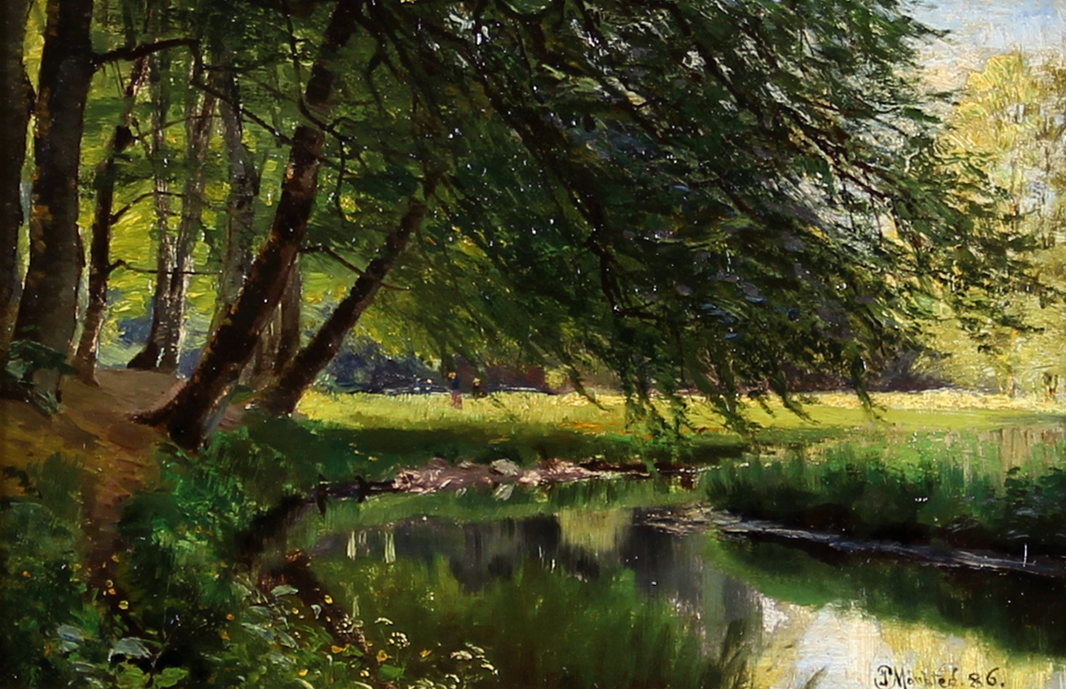 Peder M. Monsted (Danish 1859-1941) 'Summer Scenery with a Family Relaxing near a Serpentine Stream'