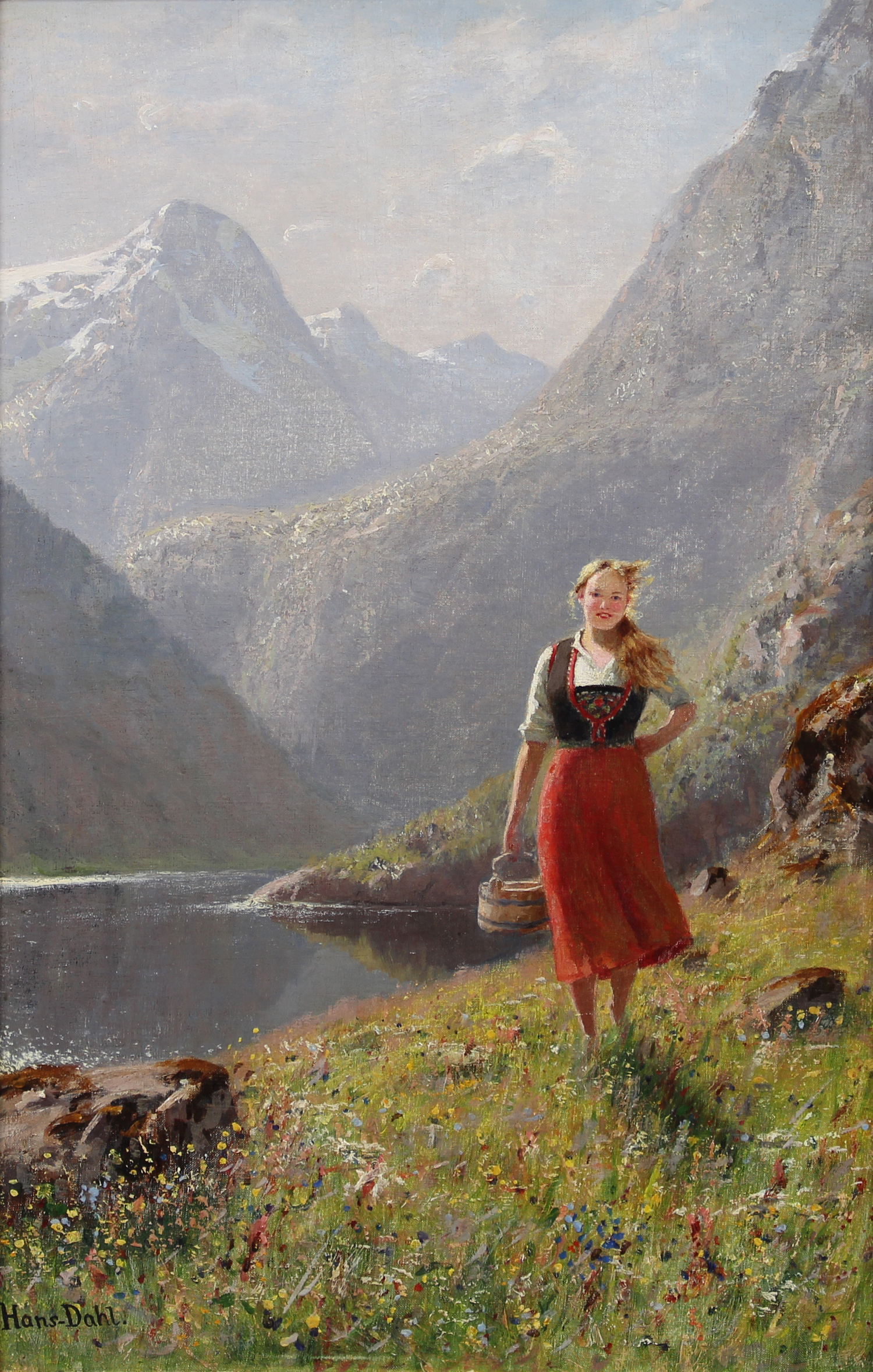 Hans Dahl (Norwegian 1849-1937) 'A Young Girl with a Basket in the Mountains'