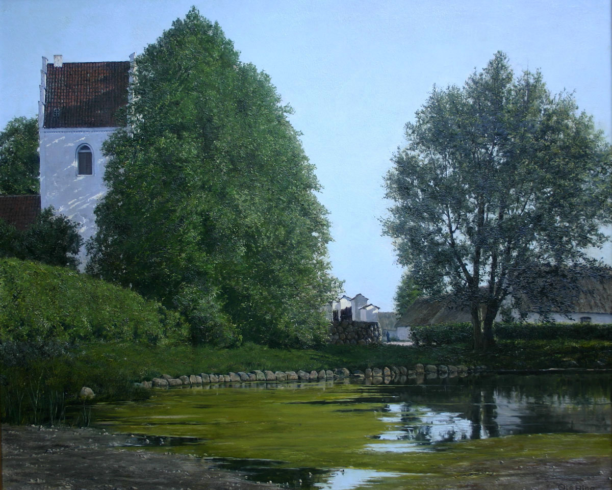 Ole Ring (Danish 1902-1972) 'View of Flong Church from the Town's Fire Pond'