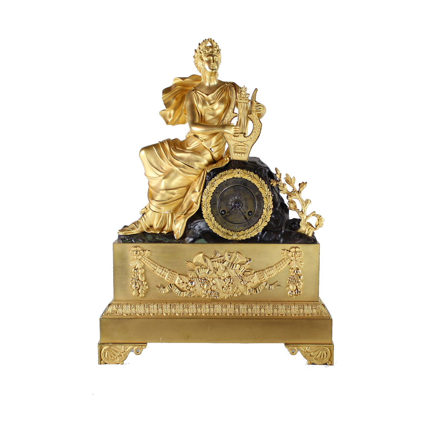 Mid 19th Century French Clock with Ormolu and Bronze