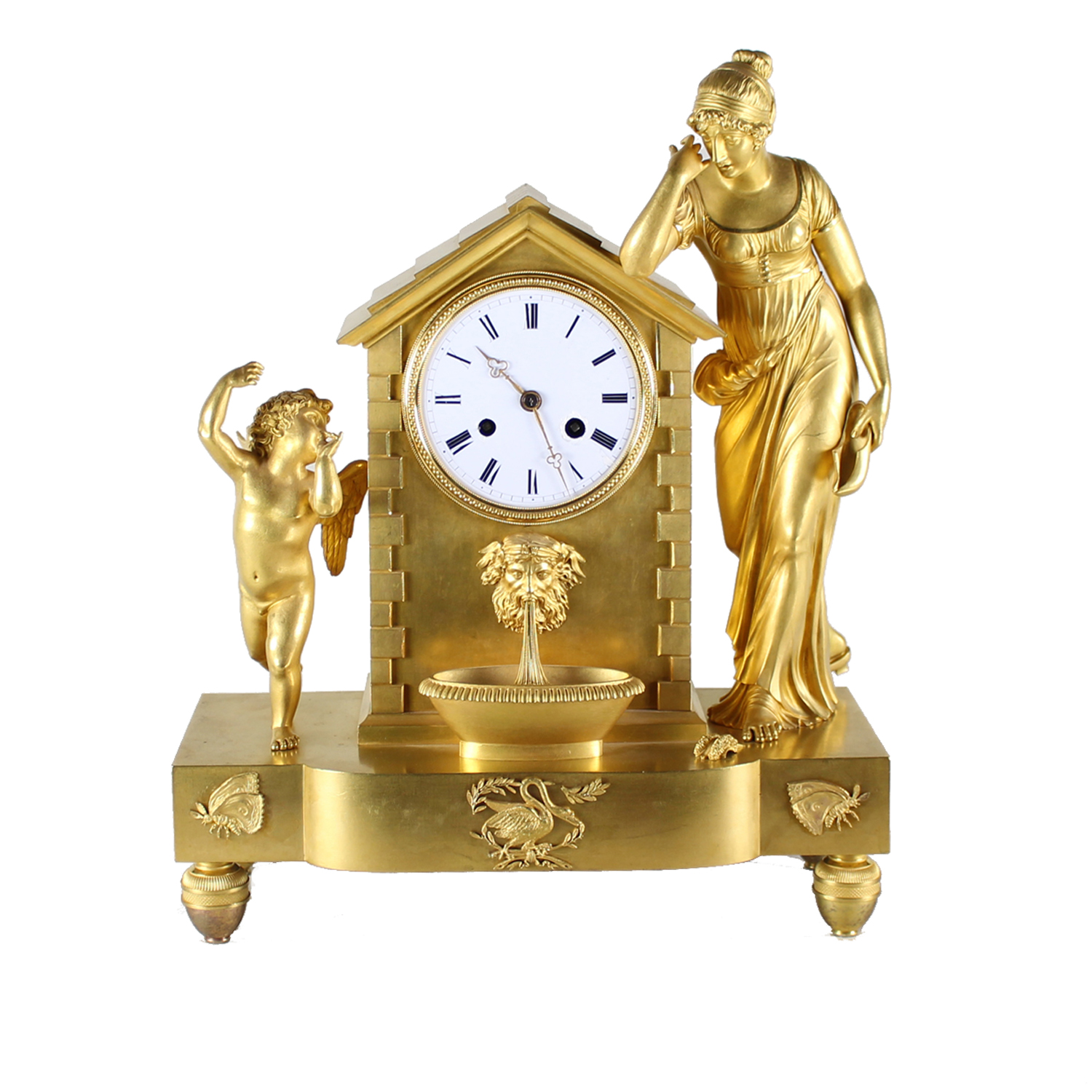 Louis XVI Gilt Bronze Figural Mantel Clock, French Late 18th Century