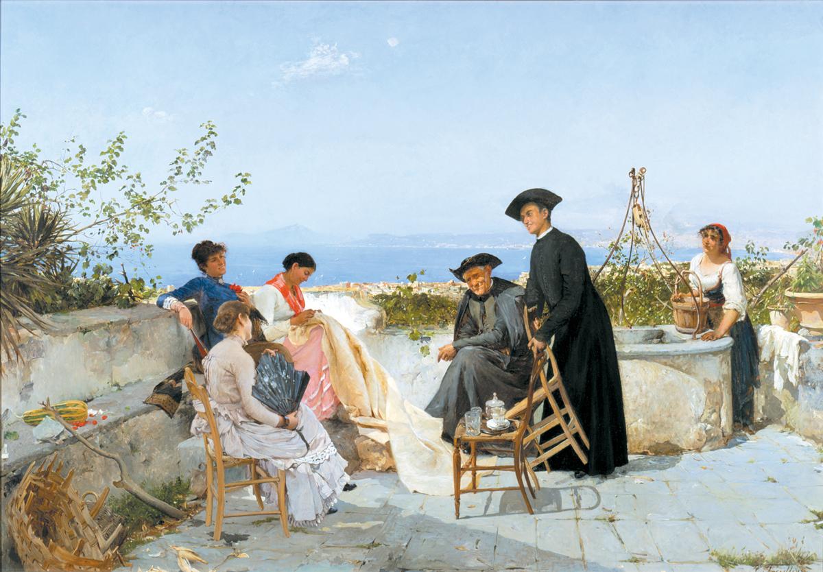 Adolph Treidler (German 1846-1905) Bay Of Sorrento 1885
