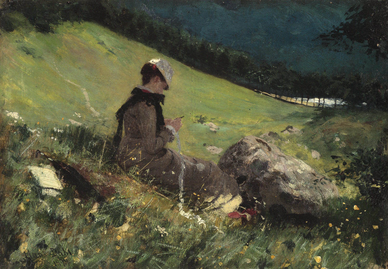 Hans Dahl (Norwegian 1849-1937) Helene Knitting