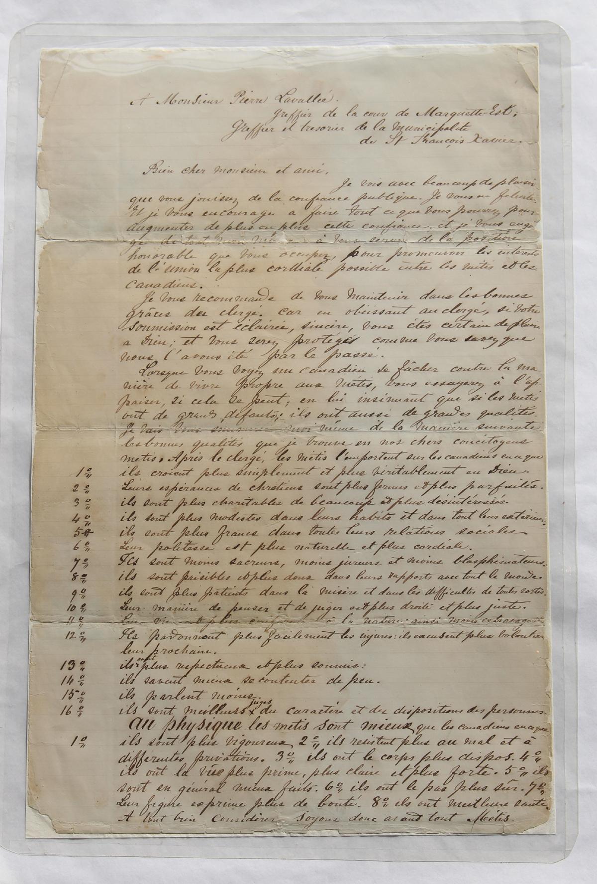 Louis Riel (Canadian 1844-1885) Letter To Mr. Pierre Lavallee