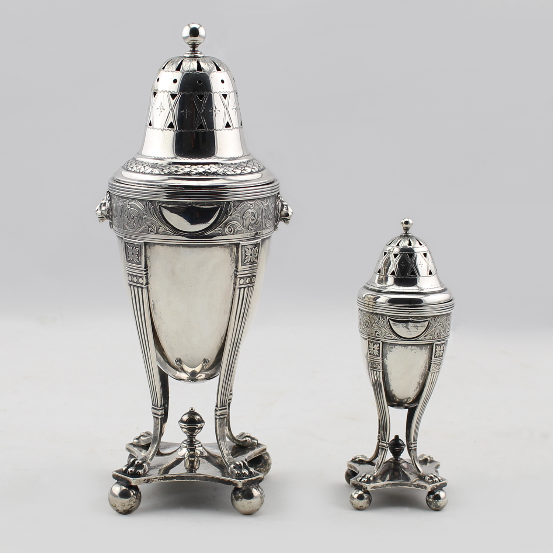 Pair of Danish Silver Sugar Castors