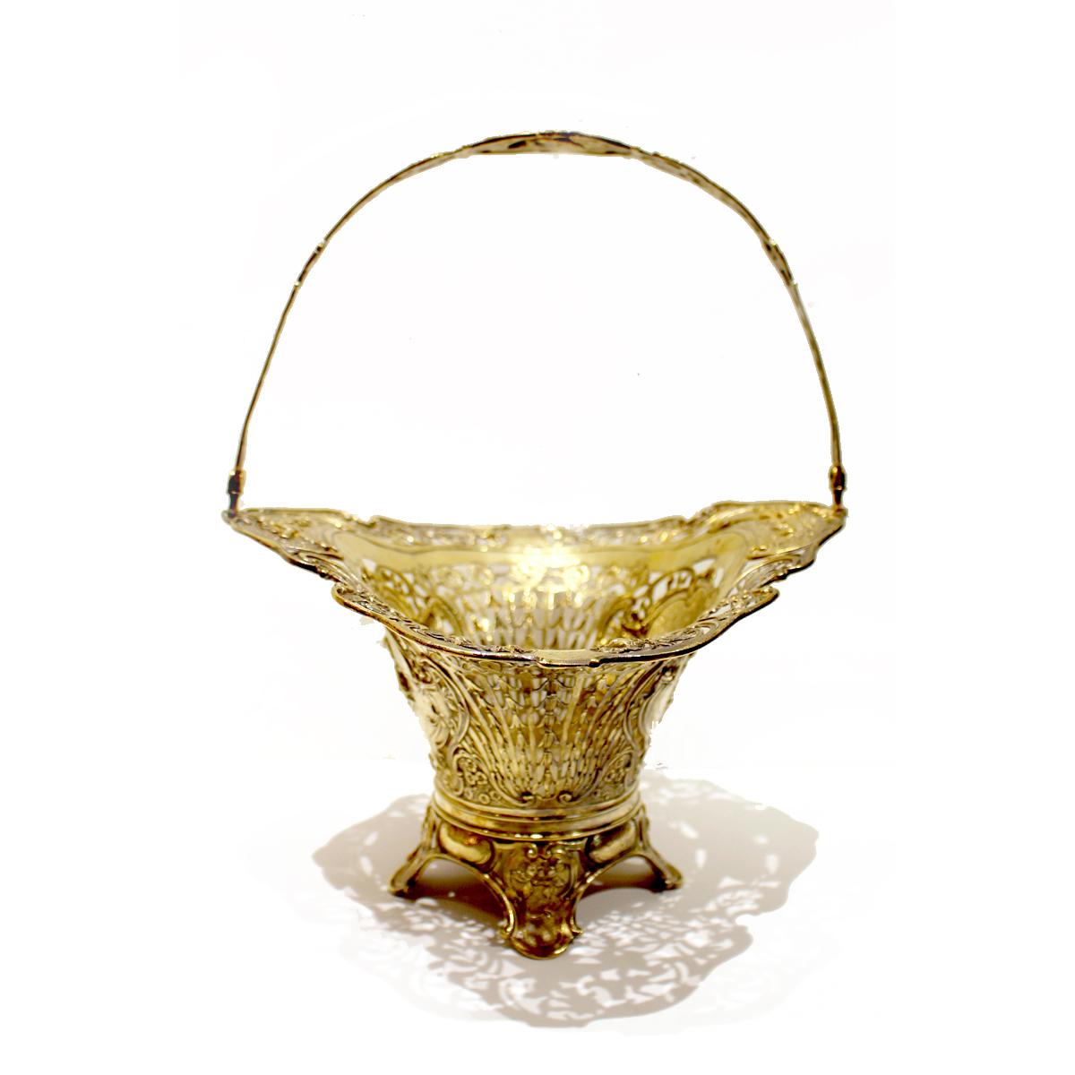 German Gilt Silver 'Bride's' Basket, Mid 19th Century