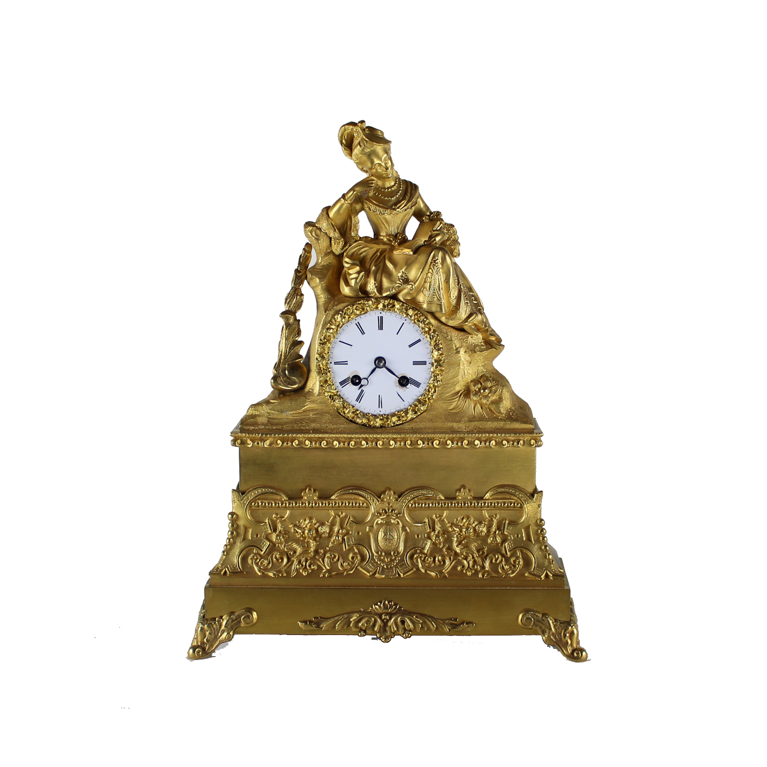 French Ormolu Clock Depicting a Lady in Court Dress Reading a Book, Circa 1860
