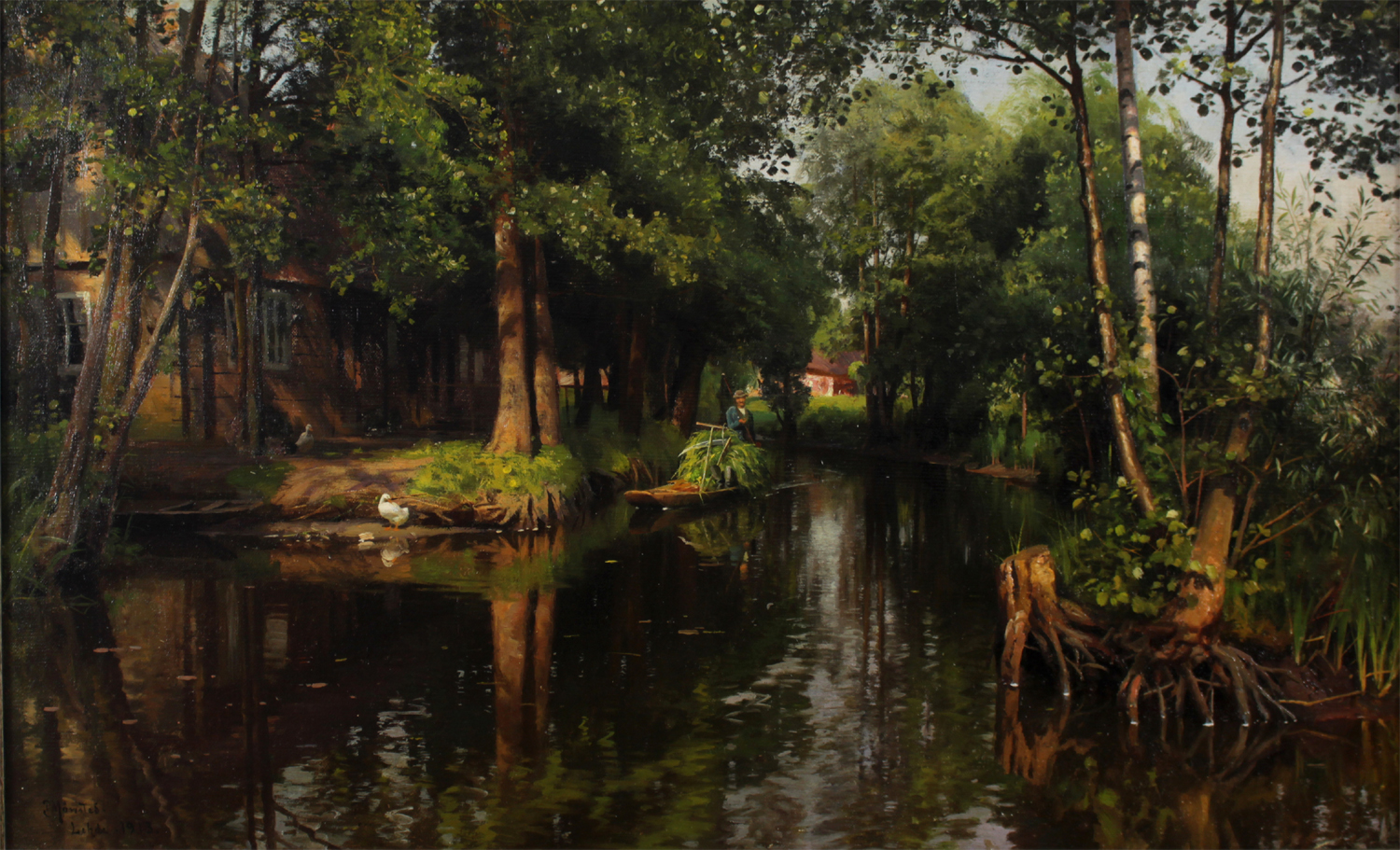 Peder M. Monsted (Danish 1859-1941) 'Summer's Day in the Spreewald'