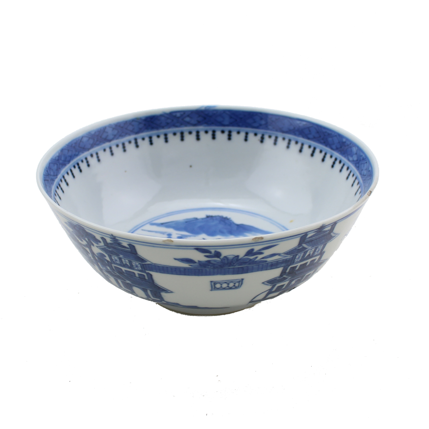 Chinese Blue and White Bowl, Depicting Landscape, circa 1800